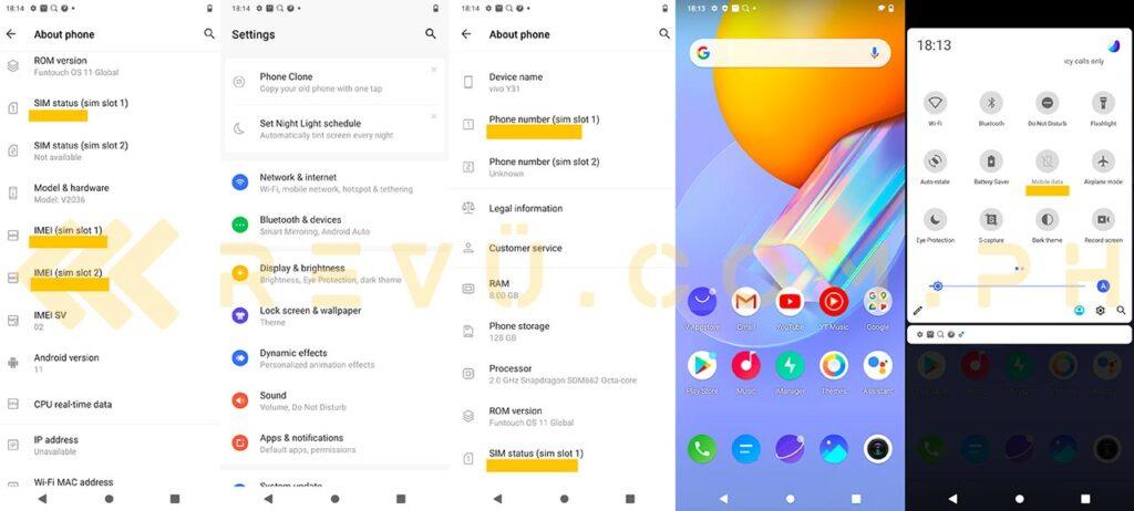 Vivo Y31's Android 11-based FunTouch OS 11 screenshots via Revu Philippines