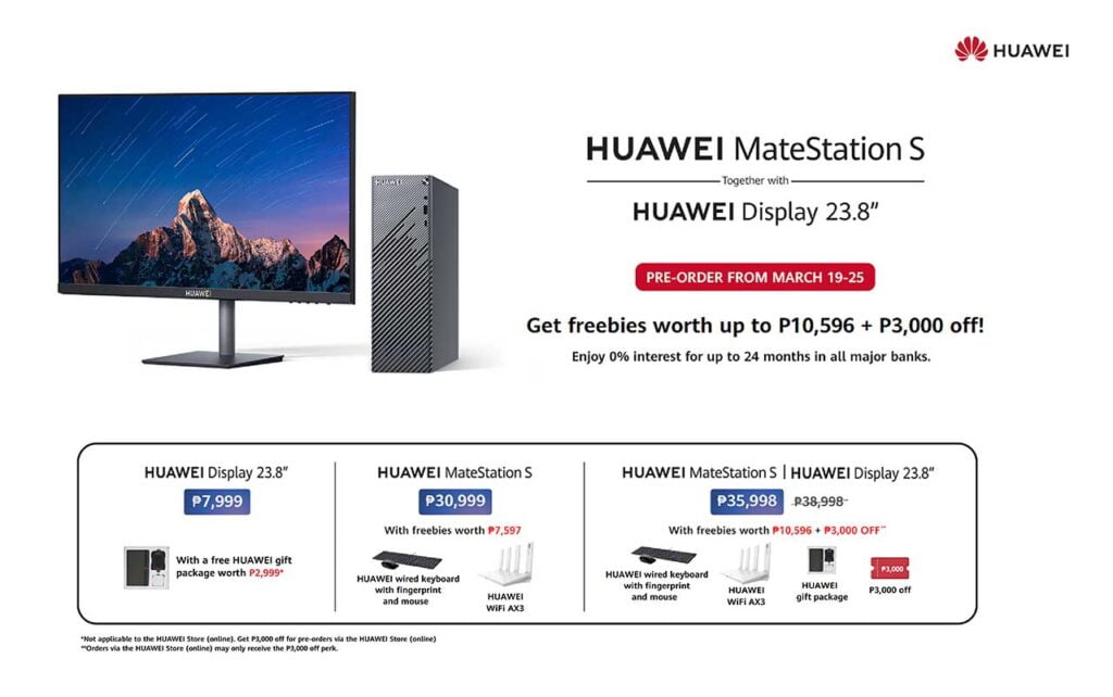 Huawei MateStation S and Huawei Display prices, specs, preorder period and freebies, and availability via Revu Philippines