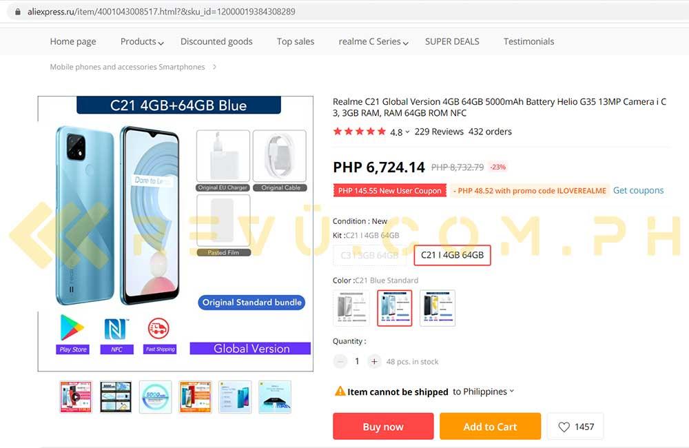 Realme C21 price and specs on AliExpress Russia via Revu Philippines