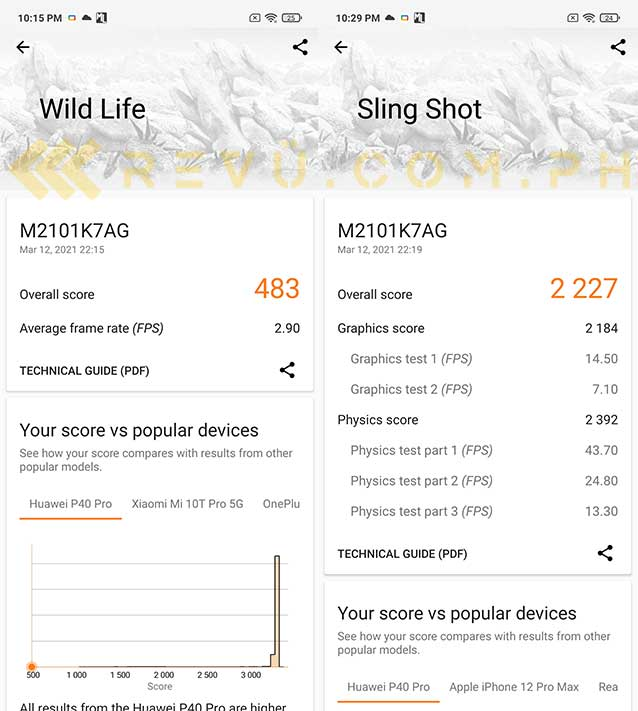 Redmi Note 10 3DMark test results for Wild Life and Sling Shot in performance review by Revu Philippines