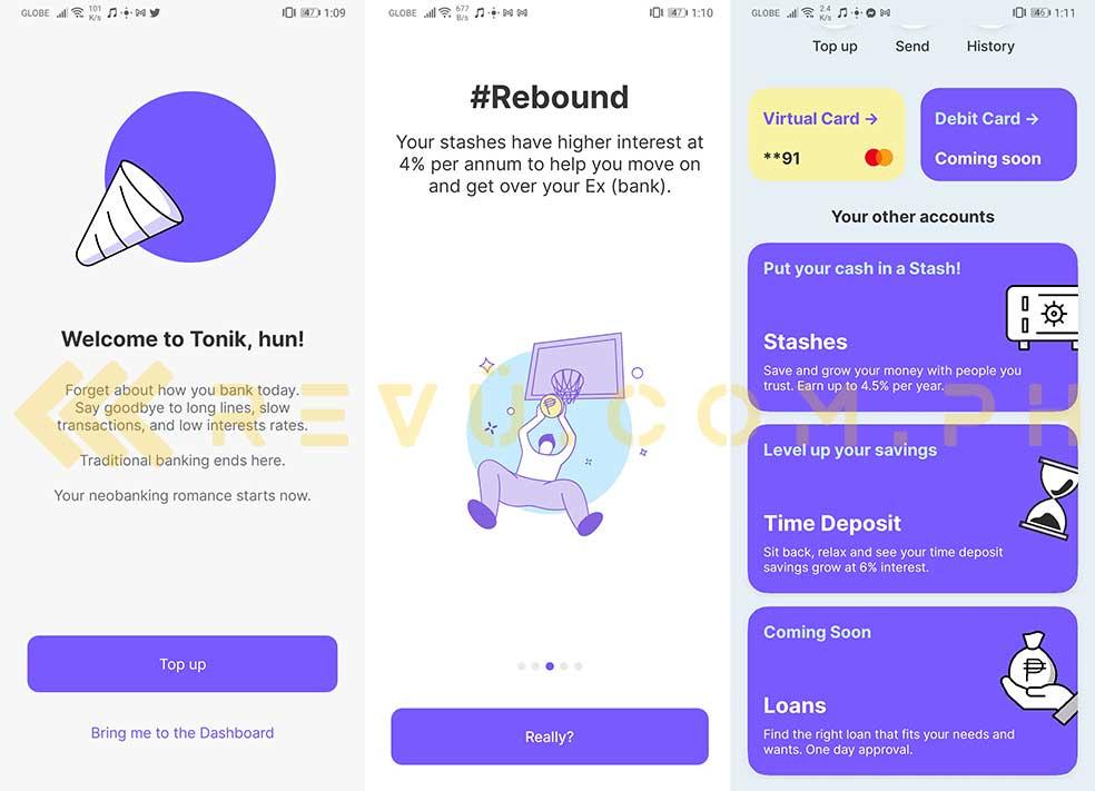 Tonik neobank app screenshots via Revu Philippines