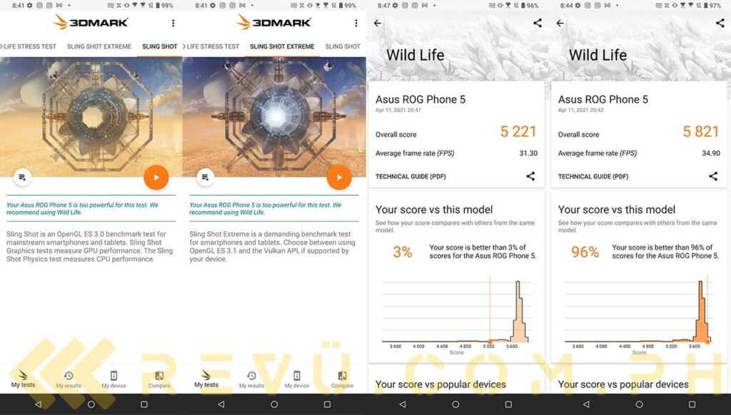 ASUS ROG Phone 5 Classic 3DMark Sling Shot, Sling Shot Extreme, Wild Life and Wild Life with X Mode on benchmark results in review by Revu Philippines