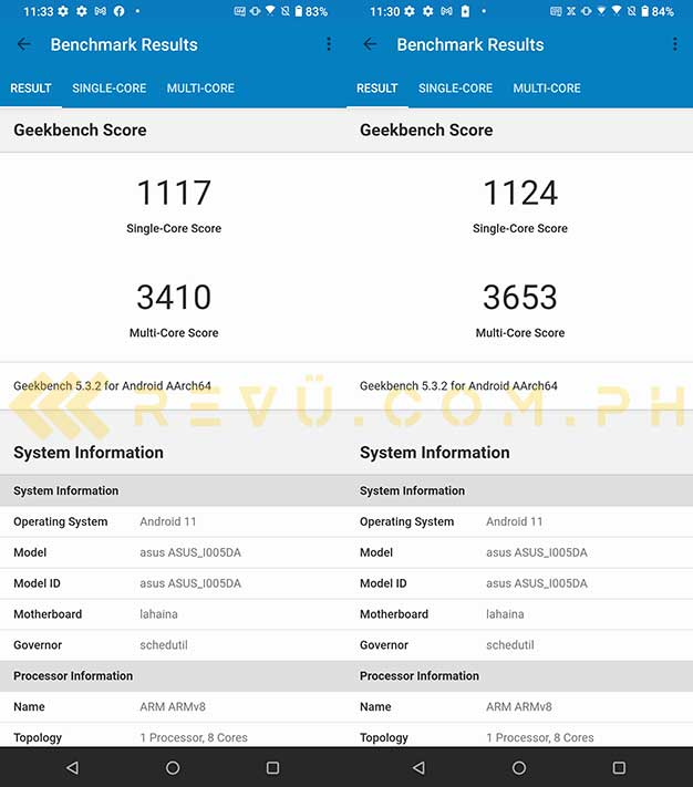 ASUS ROG Phone 5 Classic Geekbench benchmark scores: Normal and X Mode on in review by Revu Philippines