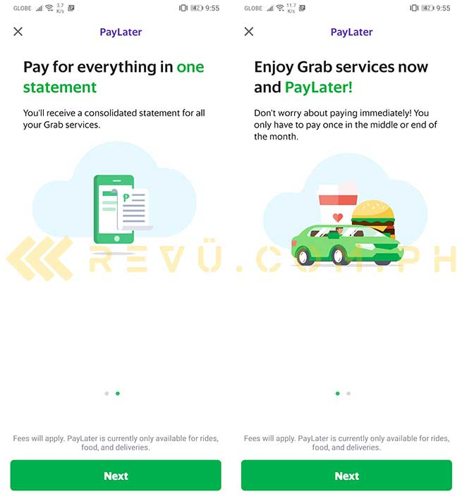 Grab PayLater feature via Revu Philippines