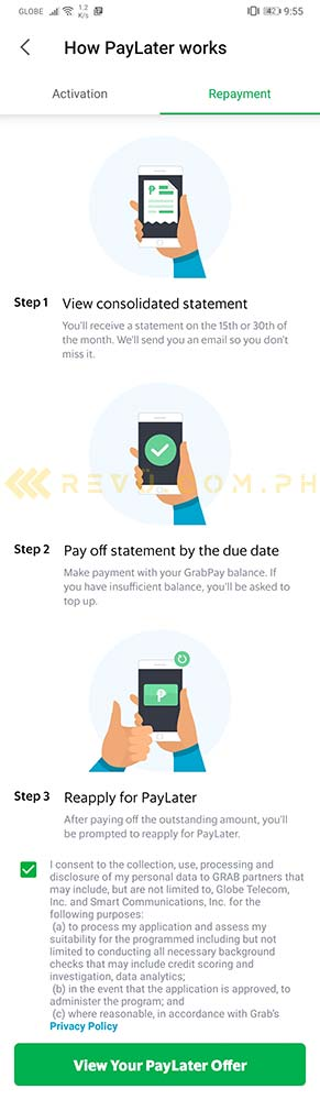 How Grab PayLater feature works via Revu Philippines