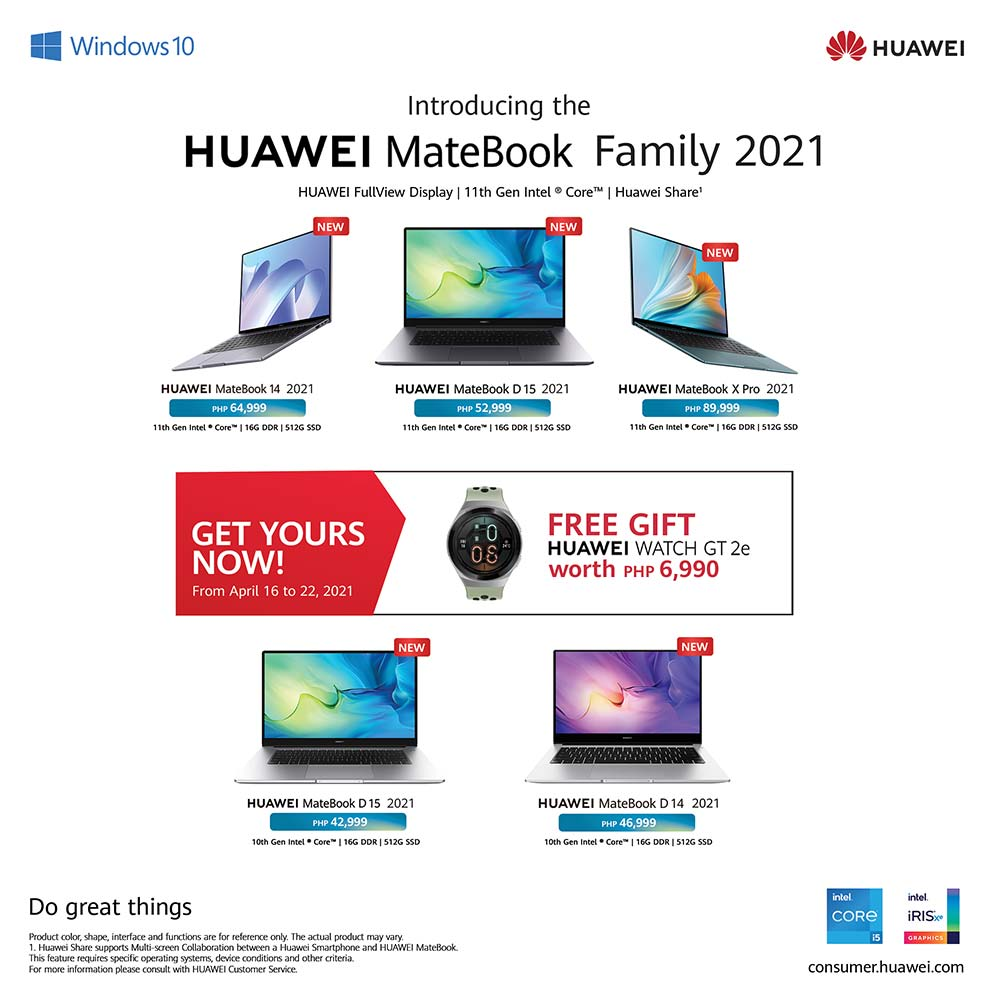 Huawei MateBook Family 2021 price and preorder period and freebie via Revu Philippines