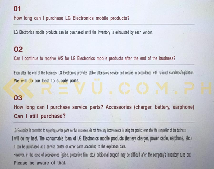 LG Mobile shutdown translated FAQ via Revu Philippines