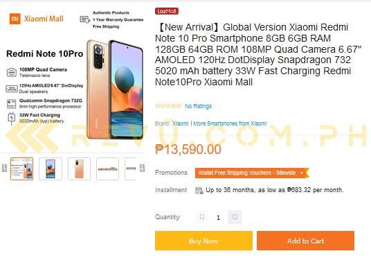 Redmi Note 10 Pro listing on Lazada Philippines via Revu