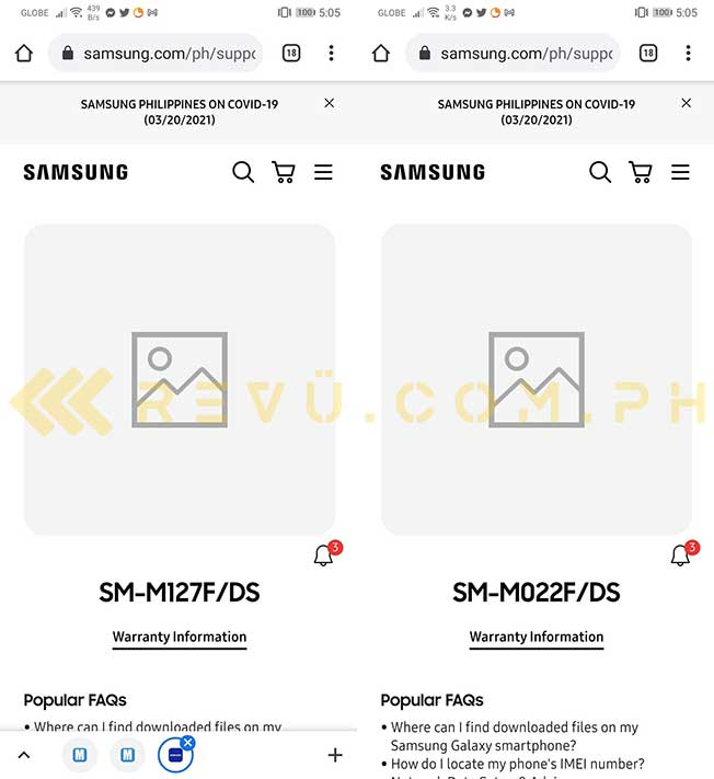 Samsung Galaxy M12 and Galaxy M02 spotted on Samsung Philippines website by Revu
