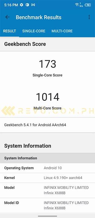 Infinix Hot 10 Play Geekbench benchmark scores via Revu Philippines