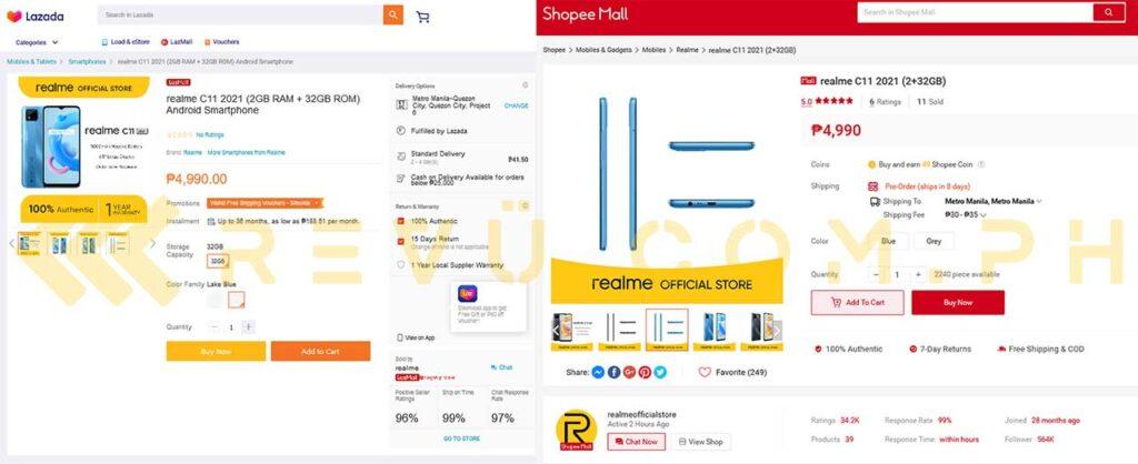Realme C11 2021 goes on sale on Lazada and Shopee via Revu Philippines