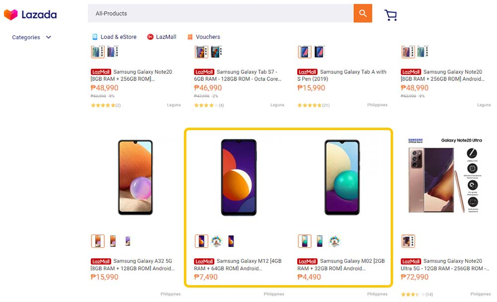 Samsung Galaxy M12 and Samsung Galaxy M02 on Lazada spotted by Revu Philippines