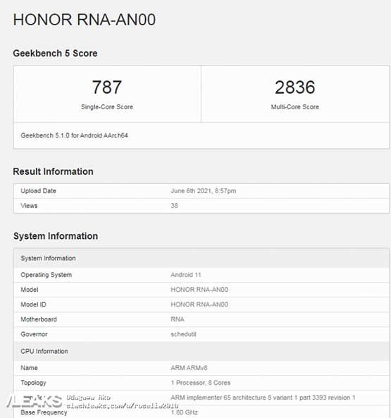 Honor 50 series phone or Honor RNA-AN00 Geekbench benchmark scores via Revu Philippines