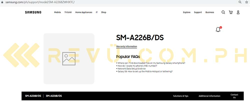 Samsung Galaxy A22 5G support page in Philippines spotted by Revu
