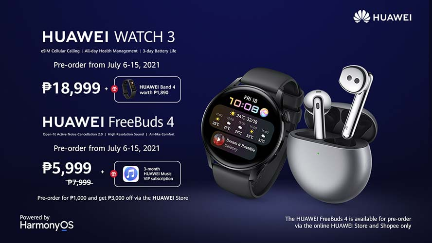 Huawei Watch 3 and Huawei FreeBuds 4 price and preorder period and freebies via Revu Philippines