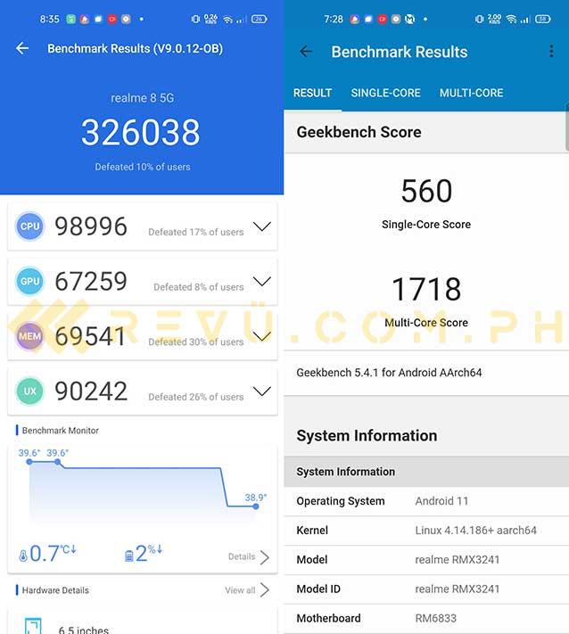Realme 8 5G Antutu and Geekbench benchmark scores via Revu Philippines