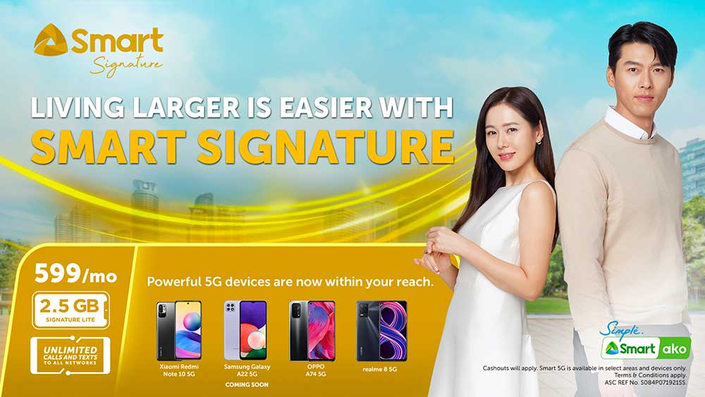 Smart Signature Plan Lite offers and phones in image with Hyun Bin and Son Ye-jin via Revu Philippines