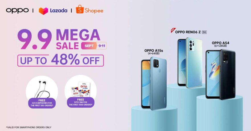 OPPO discounted products at Lazada 9.9 and Shopee 9.9 sale via Revu Philippines